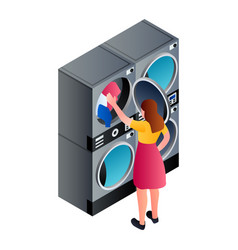 woman at laundry service icon isometric style vector image