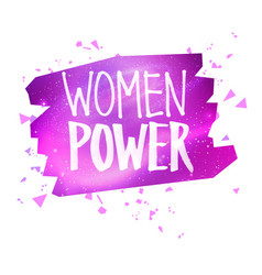 Women power feminist felt pen lettering slogan vector