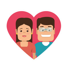 color silhouette with heart shape with couple vector image