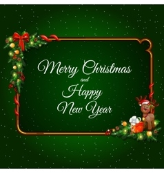 Festive card with Golden frame and Christmas decor vector image