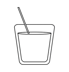 glass cocktail drink straw outline vector image
