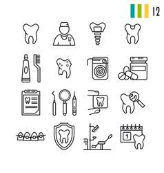 outline set of dental icons vector image