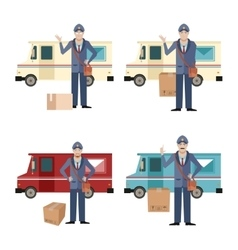 Set of postmen and delivery car vector image