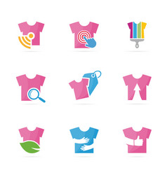set of t-shirt logo combination garment and cloth vector image vector image