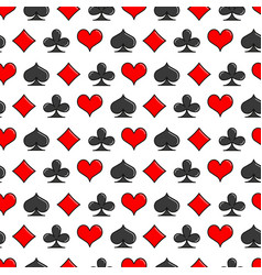 Card suits simple line style seamless pattern vector