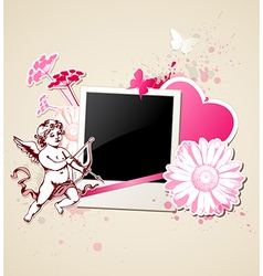 Decorative background with photo and Cupid vector image vector image