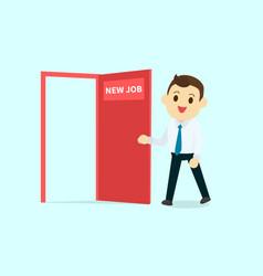 employee walk and open red door with new job text vector image vector image