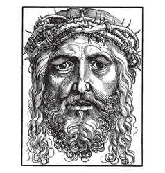 large head of christ is a chiaroscuro woodcut vector image vector image