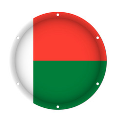round metallic flag of madagascar with screw holes vector image