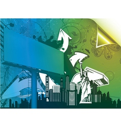 urban poster with 3d arrows and billboard vector image