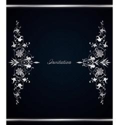 Vintage floral frame on blue background vector image vector image