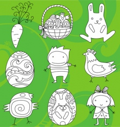 Easter doodles vector image vector image