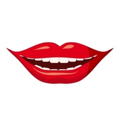 Red lips icon cartoon style vector image