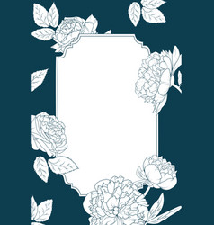 rose peony flowers invitation card template border vector image