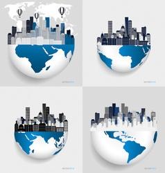 City with modern design globe vector