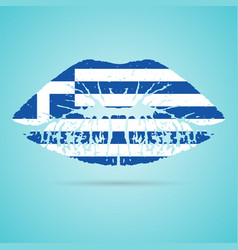 greece flag lipstick on the lips isolated on a vector image vector image