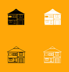house black and white set icon vector image vector image