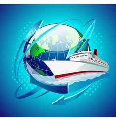 ship in front of the globe vector image vector image
