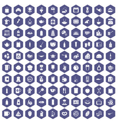 100 kitchen icons hexagon purple vector