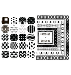 20 geometric patterns and 6 pattern brushes vector image