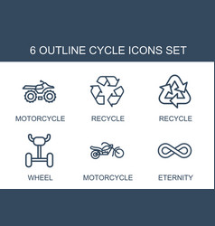 6 cycle icons vector
