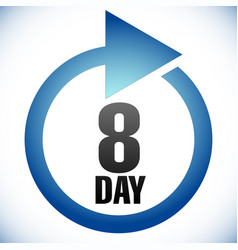 8 day turnaround time tat icon interval for vector