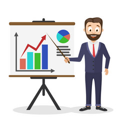a successful businessman holds a pointer near the vector image