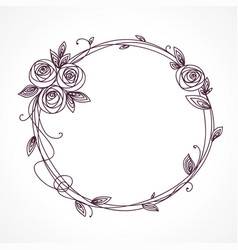 abstract line elegant floral frame vector image