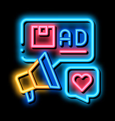 Advertisement marketing company product neon glow vector