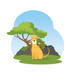 African lioness in landscape vector