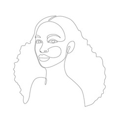 African woman face line drawing minimalistic vector
