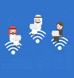 Arab business people sitting on wifi symbol vector