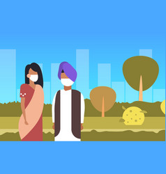 Arab couple wearing face mask dirty waste toxic vector