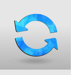 Arrow refresh icon reload sign with polygonal vector