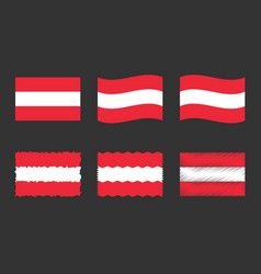 austria flag set official colors and proportion vector image
