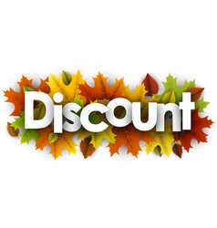 autumn discount background with leaves vector image
