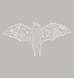 bat and night landscape inside double exposure vector image