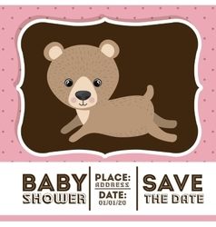 bear animal baby shower card icon vector image