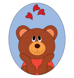 bear in love on white background vector image