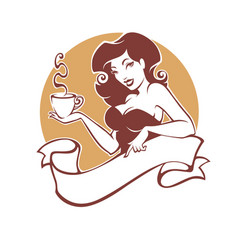 Beauty pinup woman with cup of tea or coffee logo vector