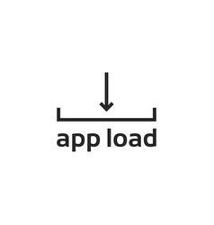 black line app loading logo vector image