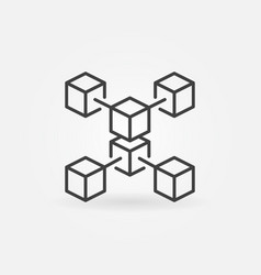 Blockchain crypto technology outline icon vector