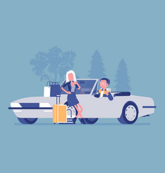 Cabriolet boy giving girl a lift vector