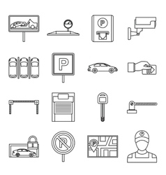 Car parking icons set outline style vector image