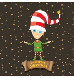cartoon cute merry Christmas elf vector image