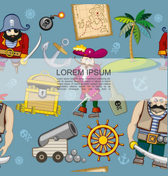 cartoon pirates seamless pattern vector image