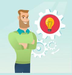 Caucasian man with business idea lightbulb in gear vector