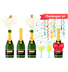 Champagnes party elements champagne bottle and vector