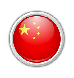 chinese flag badge in circular frame isolated on vector image
