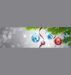 christmas background decoration shiny balls on vector image